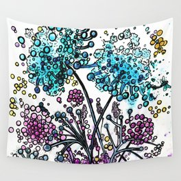 Purple floral watercolor abstraction Wall Tapestry