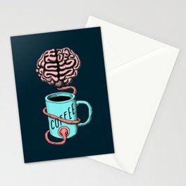 Coffee for the brain. Funny coffee illustration Stationery Cards