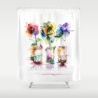 card Shower Curtains featuring card by tatiana-teni