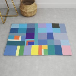 Blue Checker Pattern Rug