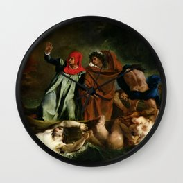 "Eugène Delacroix ""Dante and Virgil in Hell, also known as The Barque of Dante"" Wall Clock"