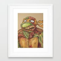 ninja turtle Framed Art Prints featuring zombie ninja turtle by mileshustonart