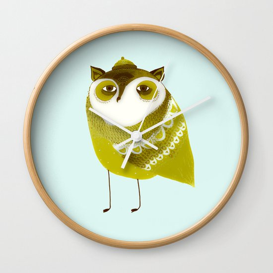 Golden Owl illustration  Wall Clock