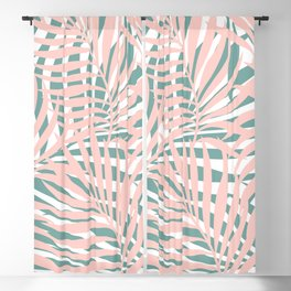Tropical Green and Pink, Summer Palm Leaves Pattern Blackout Curtain