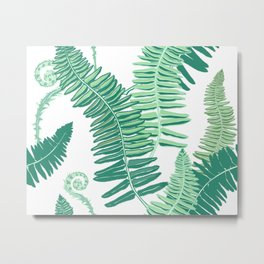 Native Ferns, Vintage Tropical Metal Print