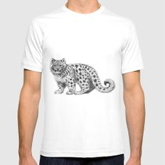 Snow Leopard cub g142 White Mens Fitted Tee MEDIUM