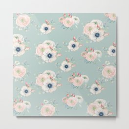 Dog Rose Pattern Mint Metal Print