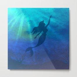 Magical Jeweltone Mermaid Silhouette Illustration Metal Print