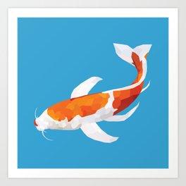 Geo Koi Orange & White Art Print