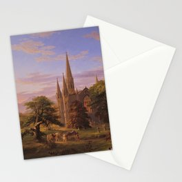 The Return Home medieval forest cathedral landscape painting by Thomas Cole Stationery Cards