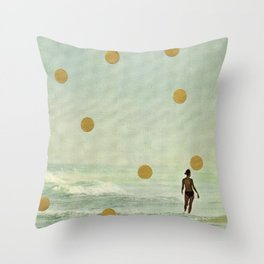 Quiet day in the beach a vintage collage 2020 by Katja Huth Throw Pillow