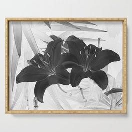 Contemporary Black Lily Flower Floral Art A116 Serving Tray