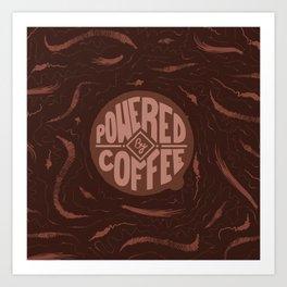 powered by coffee and swirls Art Print