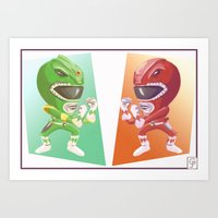 power rangers Art Prints featuring Mighty Fightin' Power Rangers by garciarts