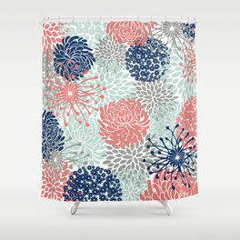 Floral Print - Coral Pink, Pale Aqua Blue, Gray, Navy Shower Curtain