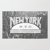 nyc Area & Throw Rugs featuring NYC by Zeke Tucker