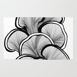 Mushrooms in black and white Rug