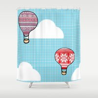hot air balloons Shower Curtains featuring Cozy Hot Air Balloons by The Wellington Boot