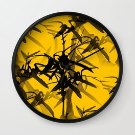Bamboo Branches On A Yellow Background #decor #society6 #buyart #pivivikstrm Wall Clock
