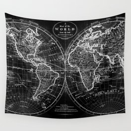 Black and White World Map (1795) Inverse Wall Tapestry