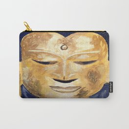 Unique Yellow Gold Buddha Head Oil Painting on Canvas Carry-All Pouch