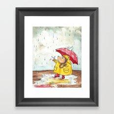 Rainy Day Hedgehog Framed Art Print