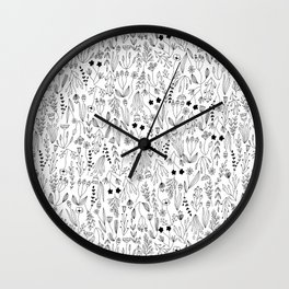 Botanical Floral and Herbal Pattern Wall Clock
