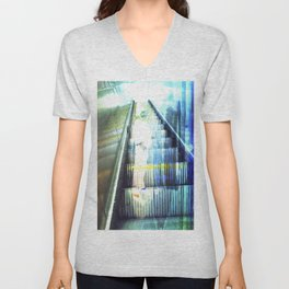 Light Escalator - Double Exposure Unisex V-Neck