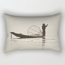 Fisherman at Inle Lake Rectangular Pillow
