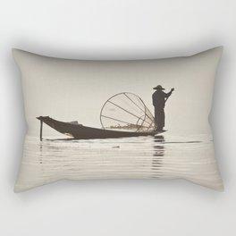 Fisherman at Inle Lake Rectangular Pillow