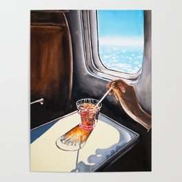 Glass in Airplane | Retro Mid Century | Mad Men Painting Poster