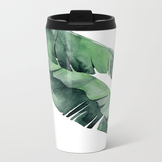 Tropical Island Leaves Pair Metal Travel Mug