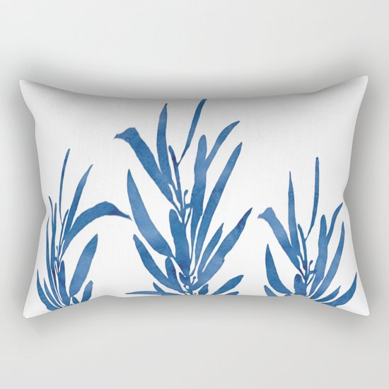 Eucalyptus Branches Blue Rectangular Pillow