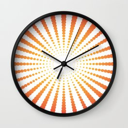 ORANGE DOTS SWIRL ON A WHITE BACKGROUND Abstract Art Wall Clock