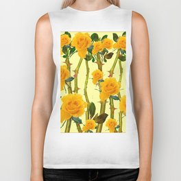 GOLDEN ROSES & THORNY CANES ON  YELLOW Biker Tank