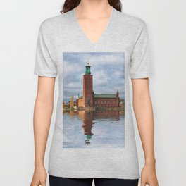 The City Hall, Stockholm Unisex V-Neck