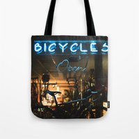 bicycles Tote Bags featuring Bicycles   by {she tells stories}