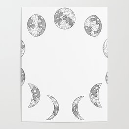 Moon Phases - Tarot, Full Moon, New Moon, Universe, Energy Poster