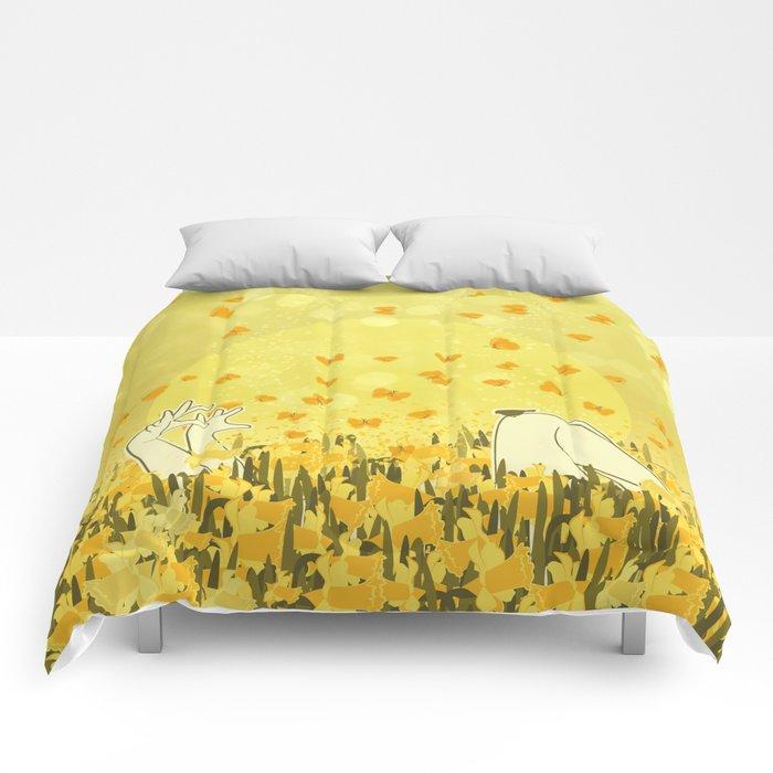 Yellow Effervescence Comforters
