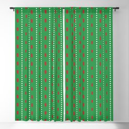 Christmas vector red and white vertical stitches aligned on green background Blackout Curtain