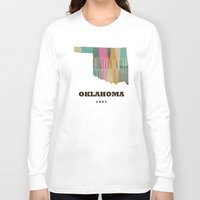oklahoma Long Sleeve T-shirts featuring Oklahoma state map modern  by bri.buckley