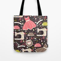 sewing Tote Bags featuring Vintage Sewing by Poppy & Red