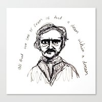 edgar allen poe Canvas Prints featuring Edgar Allen Poe by Robyn Alexandria