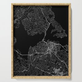 Auckland Black Map Serving Tray