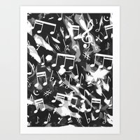 music notes Art Prints featuring MUSIC NOTES  by raspaintings