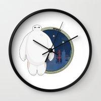 big hero 6 Wall Clocks featuring Big Hero 6 by Pikeymin
