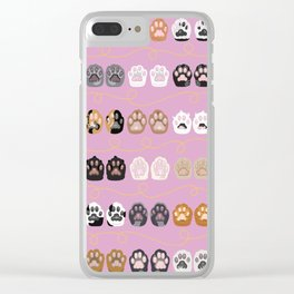 Toe Beans on Pink / Cat Paws Clear iPhone Case