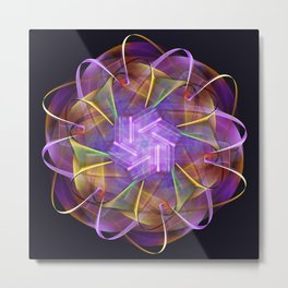 Colorful fractal atom shape Metal Print