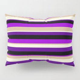Colorful Black, Dark Violet, Tan, Beige, and Indigo Colored Lined/Striped Pattern Pillow Sham