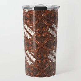 Four Leaves Flower Traditional Indonesian Batik Pattern Travel Mug